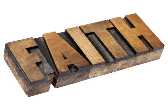 faith  word in wood type